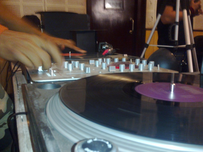 snapped @ work dj OIC -one inch cut with two turntables.